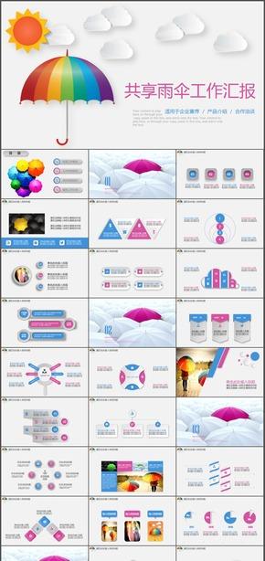 精美设计共享雨伞工作总结汇报动态PPT模板