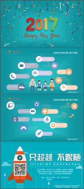 家庭成员消费比重矢量PPT图标