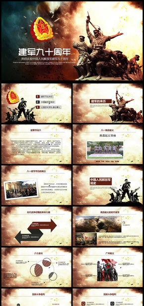 建军90周年解放军八一党政军事PPT模板