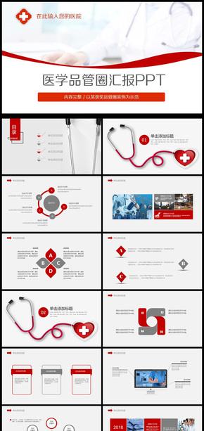 商务医学品管圈汇报通用PPT动态模板