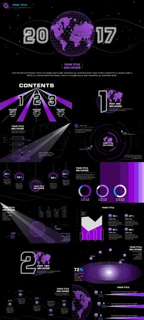 《紫色幻想》宇宙星空梦幻科技动画商务工作汇报PPT