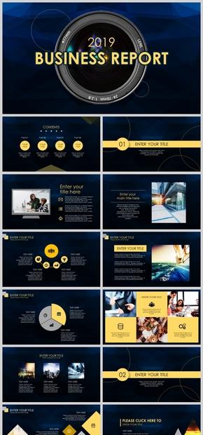 2019黑黄风商务报告年终汇报工作总结动态模板