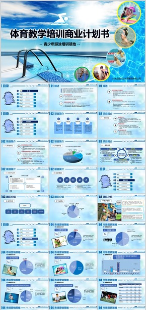 运动体育教学培训投资开发商业计划书PPT实战模板