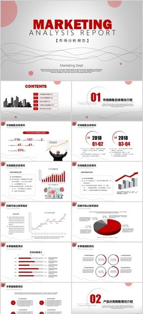 简约红高端大气市场销售分析年中总结报告动态模板