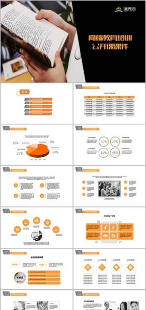 橙色高端教育培訓公開課課件PPT模板