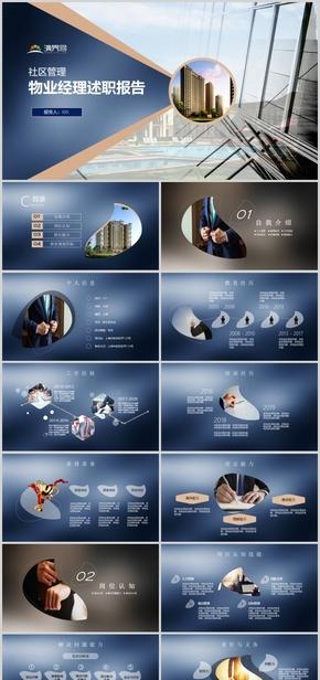 蓝色简约物业经理述职报告工作总结规划模板