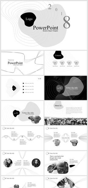 2108極簡逼格時尚創意商務報告動態模板