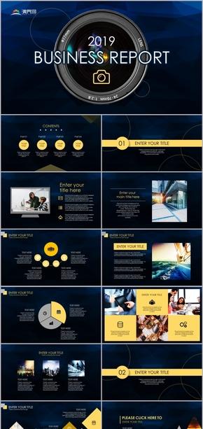2019黑黃配攝影器材商務報告工作總結模板