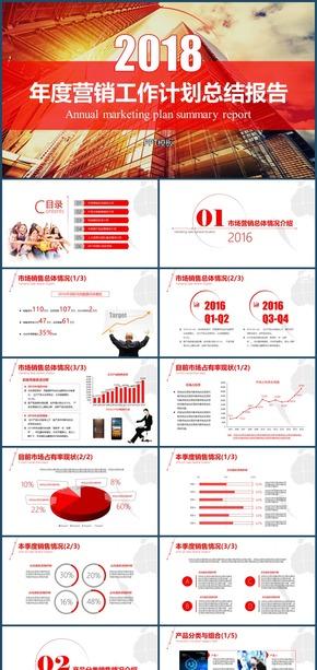 企业市场销售年度商务工作计划总结报告PPT模板