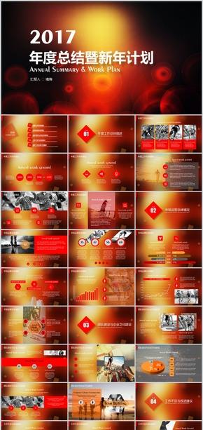 红色诱惑2017年终总结暨新年计划PPT模板
