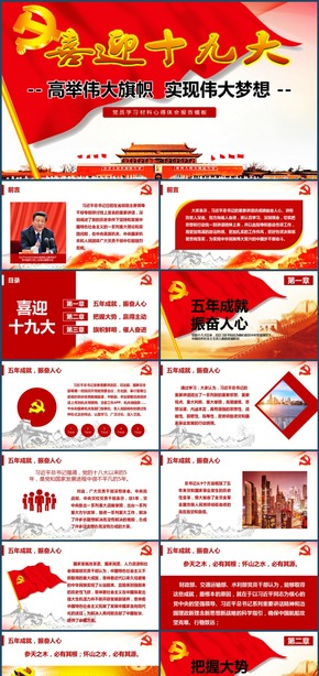 2018喜迎十九大党员学习材料报告模板