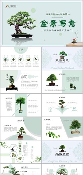 蓝色微生态园林生活体验馆盆景栽培产品推介教学模板