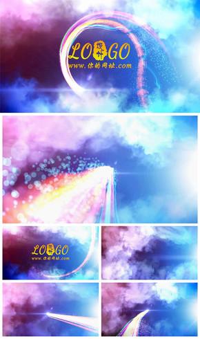 彩色粒子线条穿越云层logo片头动态PPT模板