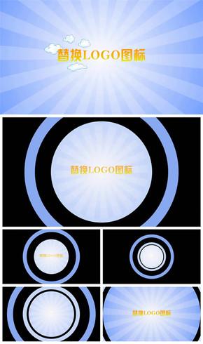 简约动漫卡通云朵logo标志展示动态PPT模板