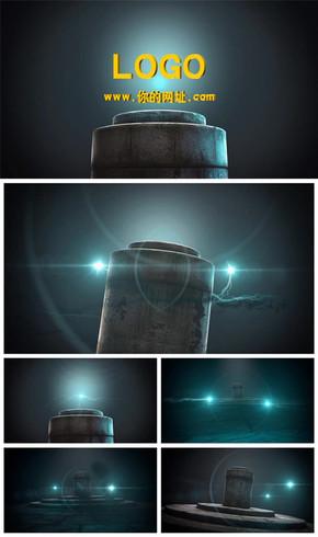 神秘复古石柱logo演绎电影片头动态PPT模板