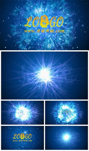 震撼粒子光线爆炸特效logo演绎动态PPT模板