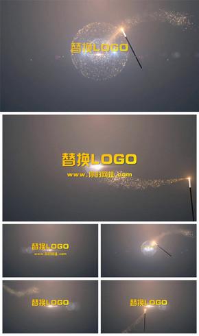 梦幻粒子魔法棒logo演绎片头动态PPT模板
