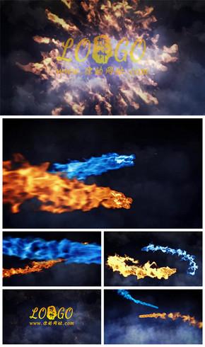 震撼大气火龙飞舞展示logo演绎标志开场片头动态PPT模板
