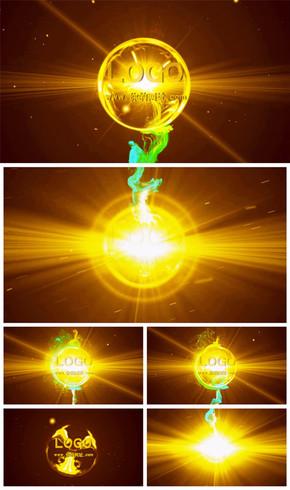 震撼大气金色光线粒子logo演绎片头动态PPT模板