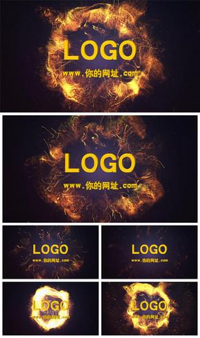 震撼大气金色粒子爆炸logo片头动态PPT模板