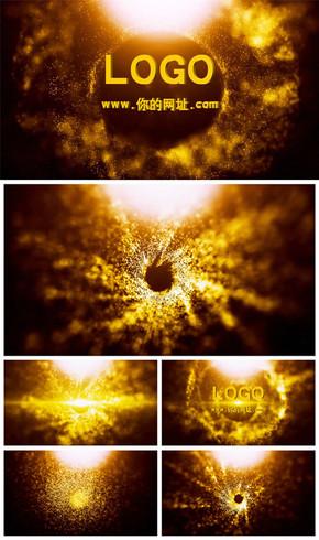 震撼大气金色粒子爆炸logo演绎片头动态PPT模板