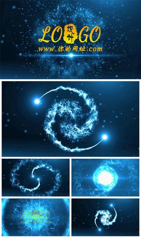 震撼大气粒子线条爆炸logo演绎动态PPT模板