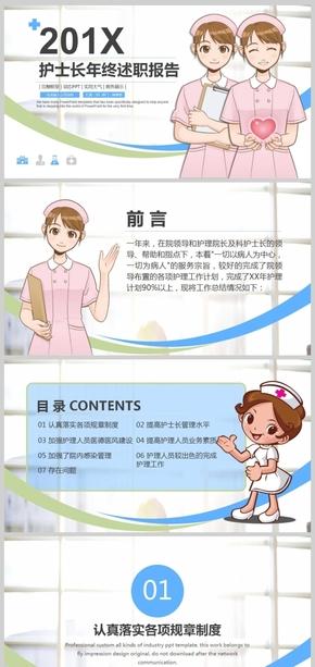 大气护士长医生述职报告PPT模板