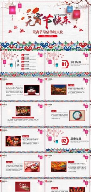 红色中国风传统文化元宵节节日习俗课件PPT