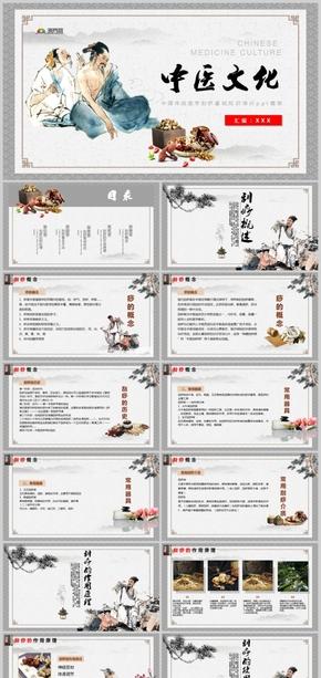 内容完整复古中国风中国传统医学刮痧基础知识培训ppt模板
