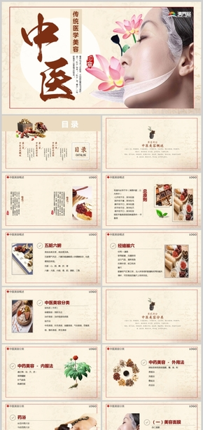 复古中国风中国传统医学中医美容ppt模板