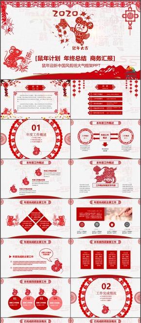 2020鼠年節日喜慶剪紙風中國風年度工作總結年終報告ppt模板