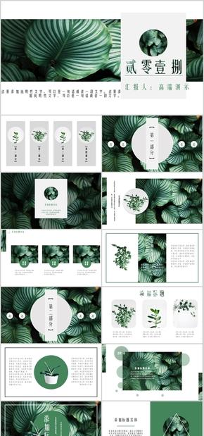 高端演示小清新简约自然清爽绿色植物清新计划总结工作汇报商务商业数据分析报告PPT模板