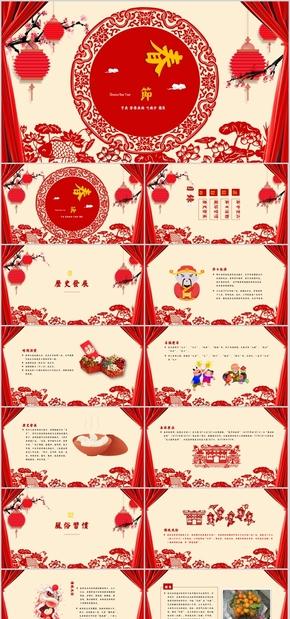 高端演示红色喜庆中国风春节新年春节习俗介绍节日庆典ppt模板