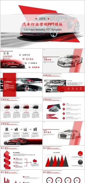 高端动态红色商务汽车营销PPT模板