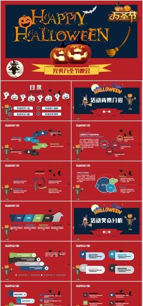 高端动态红色风格欧美风万圣节聚会节日庆典聚会PPT模板