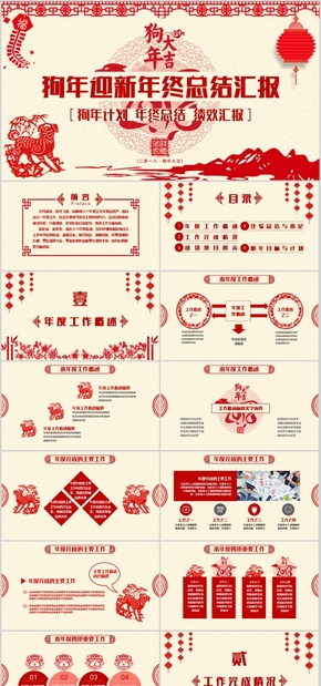 高端动态中国红剪纸风商务年终工作总结计划汇报狗年迎新年终总结汇报PPT模板