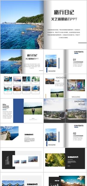 高端动态简约杂志风外国游旅行摄影日记PPT模板