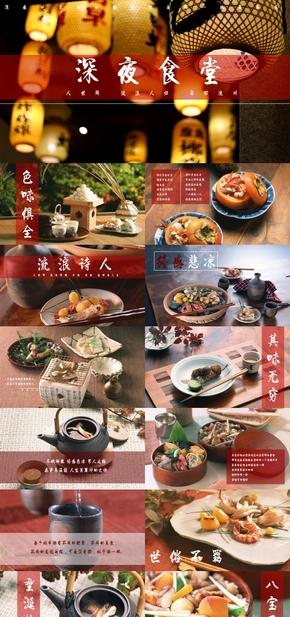 高端动态深夜食堂食物美食摄影相册展示产品餐厅宣传推广PPT模板