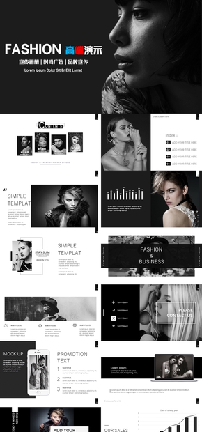 【FK演示】高端动态fashion时尚服装发布会企业相册图片设计时尚fashion排版PPT模板