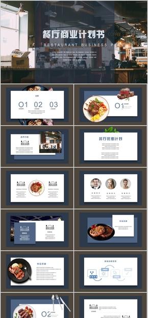 高端动态创意大气时尚西餐厅商业计划书营销融资PPT模板