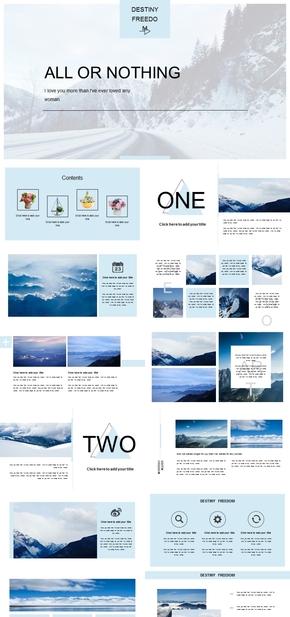 高端动态蓝色简约欧美风杂志风画册PPT模板
