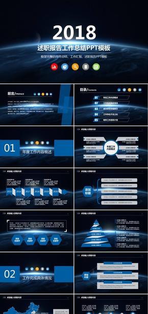 【 海视设计 】商务风格 述职报告 工作总结 汇报ppt 动态模板