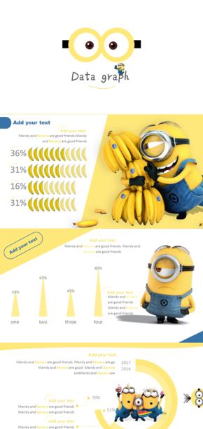 黄蓝色教育PPT图表模板