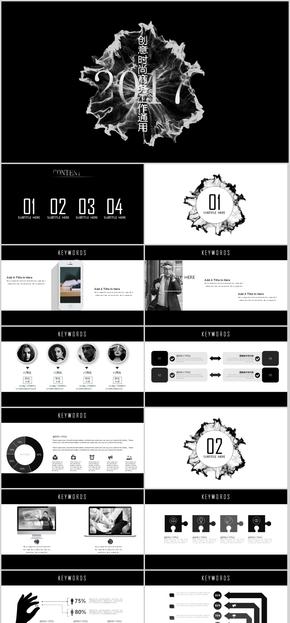 黑色时尚创意年终总结PPT模板