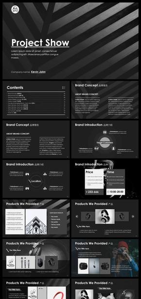 黑白灰简约高逼格项目介绍产品介绍品牌介绍公司简介商业融资ppt模板