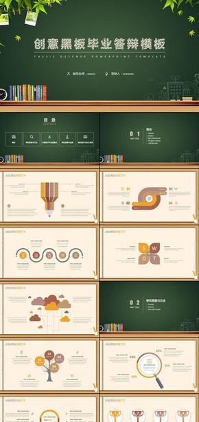 创意黑板报毕业论文答辩毕业设计答辩课题汇报开题报告学术报告ppt模板