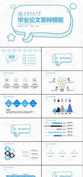 手绘创意毕业论文答辩毕业设计答辩课题汇报开题报告学术报告ppt模板