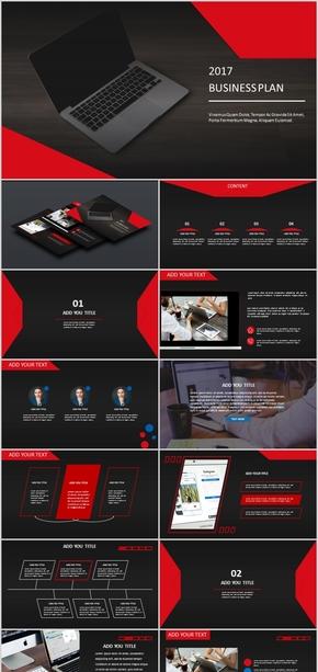 红黑科技商务大气PPT模板