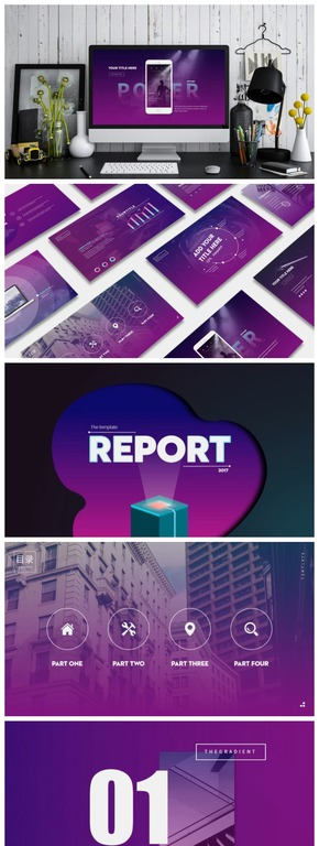 《purple passion》-- 紫蓝渐变动画工作汇报总结模板