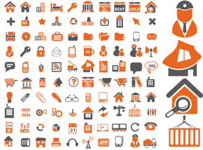 房地产建筑行业建筑物建设工程设备、商业办公旅游财务电脑日常生活、电子产品电子设备矢量PPT素材